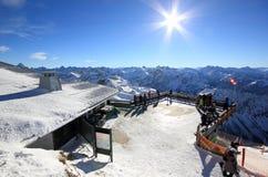 Nebelhorn山在冬天 阿尔卑斯,德国 库存照片