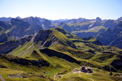 Nebelhorn. View from the summit of the Nebelhorn (Foghorn) near Oberstdorf, Allgaeu Alps, South-Germany. You see the cable car station Höfatsblick Stock Image