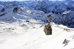 Nebelhorn cable car in winter. The Alps, Germany. Stock Images
