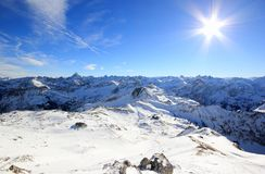 The Nebelhorn Mountain in winter. Alps, Germany. Royalty Free Stock Photography