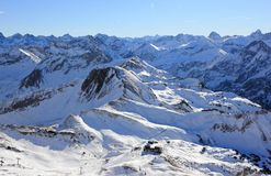 The Nebelhorn Mountain in winter. Alps, Germany. Royalty Free Stock Photos