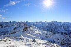 The Nebelhorn Mountain in winter. Alps, Germany. Royalty Free Stock Photo
