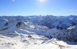 The Nebelhorn Mountain in winter. Alps, Germany. Stock Images