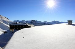 The Nebelhorn Mountain in winter. Höfatsblick (Hoefatsblick) station. The Alps, Germany. Royalty Free Stock Image