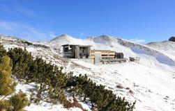 The Nebelhorn Mountain in winter. Höfatsblick (Hoefatsblick) station. The Alps, Germany. Stock Image