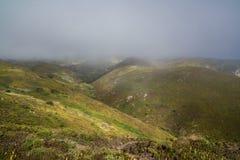 Nebelige Hügel nahe Cabo de Roca stockfotos