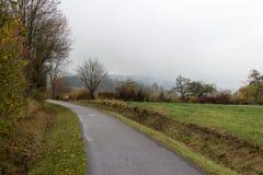 Nebelige Herbstlandschaft Stockfotos