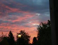 Nebelige Landschaft des von hinten beleuchteten Tageslichtes Lizenzfreie Stockfotos
