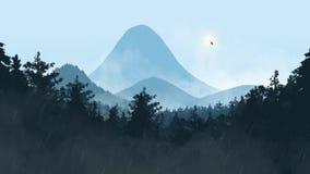 Nebelige Landschaft mit Drachen stockbild