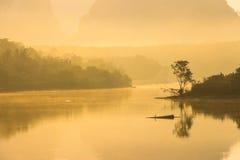 Nebelige Landschaft mit einem Baumschattenbild auf einem Nebel über See Lizenzfreie Stockfotos