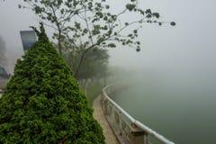 Nebelige Landschaft in Sapa, Vietnam stockbild