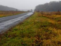 Nebelige Landschaft, Straße zum Horizont, Herbst, Lizenzfreies Stockbild