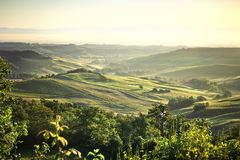 Nebelige Landschaft Toskana bei Sonnenaufgang Lizenzfreies Stockfoto