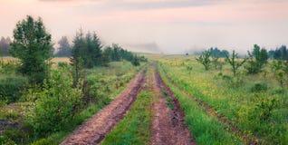 Nebelige Morgenansicht des Gebirgstales mit Straße des alten Landes lizenzfreie stockfotografie