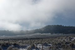Nebeliger Berg und Feld Stockfoto