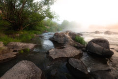 Nebeliger Fluss-Morgen Stockfotos