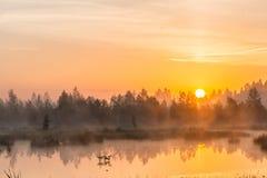 Nebeliger Morgen über dem See Stockbild