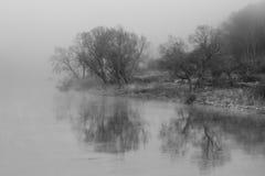 Nebeliger Morgen über Fluss Elbe Stockbild