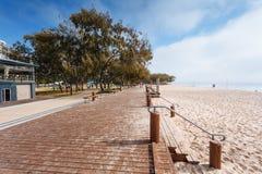 Nebeliger Morgen auf australischem Strand Stockfotografie