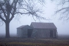Nebeliger Morgen auf dem alten Bauernhof Stockfotografie