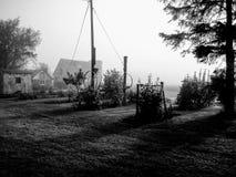 Nebeliger Morgen auf dem Bauernhof lizenzfreie stockfotos