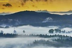 Nebeliger Morgen in der Landschaft Stockfoto