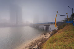 Nebeliger Morgen in der Mitte der großen modernen australischen Stadt Lizenzfreie Stockfotografie
