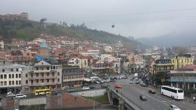 Nebeliger Morgen in der Stadt Stockbild