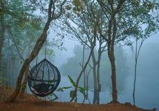 Nebeliger Morgenspaziergang auf Riverbank lizenzfreie stockbilder