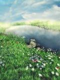 Nebeliger See mit Blumen Lizenzfreie Stockfotos