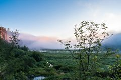 Nebeliger Sonnenaufgang auf dem Gebirgsfluss Lizenzfreies Stockfoto