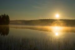Nebeliger Sonnenaufgang auf dem Waldsee August-Morgen finnland lizenzfreies stockbild
