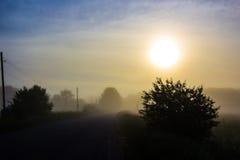 Nebeliger Sonnenaufgang auf der Straße Lizenzfreies Stockfoto