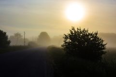 Nebeliger Sonnenaufgang auf der Straße Lizenzfreie Stockfotos