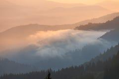 Nebeliger Sonnenaufgangmorgen in den Bergen Lizenzfreies Stockbild