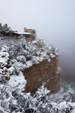 Nebeliger Tag am Grand Canyon stockbild