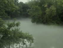 Nebeliger Wicklungs-Fluss Stockbilder