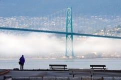 Nebeliger Winter in Vancouver, Britisch-Columbia mit Löwe-Tor-Brücke Lizenzfreie Stockfotografie