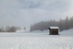 Nebeliger Wintermorgen auf bayerischer Landschaft stockfotografie