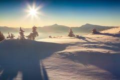 Nebeliger Wintermorgen in den Karpatenbergen Stockfotos