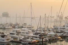Nebeliges Marina del Rey-Hauptgerinne Lizenzfreies Stockbild