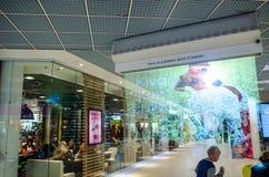 Nebeln Sie Anzeige (Schirm) in einem finnischen Einkaufszentrum ein Lizenzfreie Stockfotos