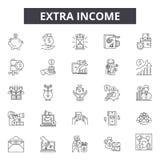 Nebeneinkommenlinie Ikonen, Zeichen, Vektorsatz, Entwurfsillustrationskonzept stock abbildung