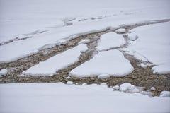 Nebenfluss bedeckt durch Schnee Stockbilder