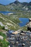 Nebenfluss und Seen der Rila-Berge Stockfoto