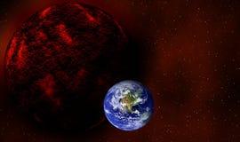 Nebiru está en órbita cerca de la tierra en diseño gráfico del día del juicio final ilustración del vector