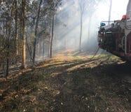 Neblina de la quemadura del humo del coche de bomberos Foto de archivo