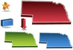 Nebraska 3D. Set of 3D images of the State of Nebraska with icons Stock Photography