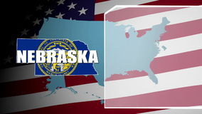 Nebraska Countered Flag and Information Panel stock video footage