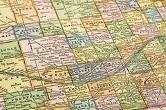 Nebraska en un mapa del vintage Imagen de archivo libre de regalías